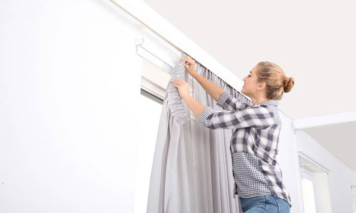 how to hang curtains from the ceiling without drilling